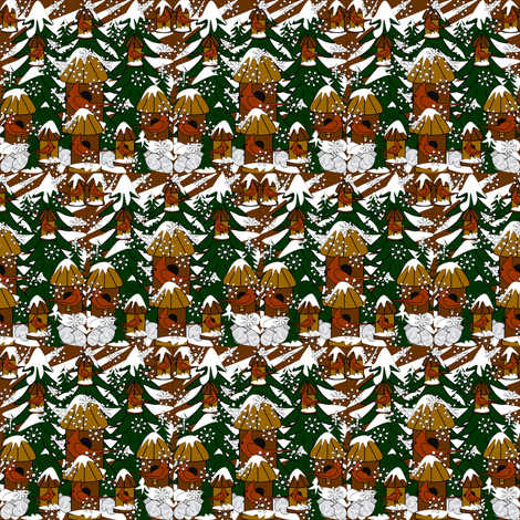Doug The Handy Dandy Gentleman Winter Trees, Snowflakes, Cardinals, Birds & Birdhouses Fabric #2 fabric by lworiginals on Spoonflower - custom fabric