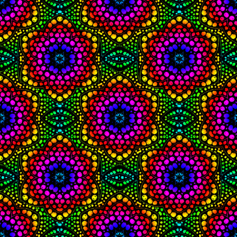 Rainbow Dot Bloom on Black fabric by eclectic_house on Spoonflower - custom fabric