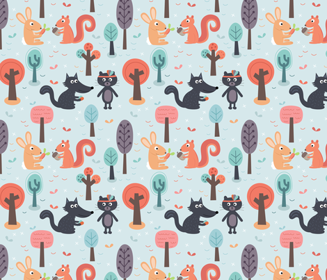 Animals-friends fabric by la_fabriken on Spoonflower - custom fabric