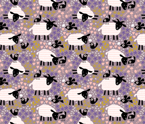 Birds and sheep in blossom fabric by heleen_vd_thillart on Spoonflower - custom fabric