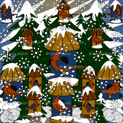 Doug and Petronella Victorian Snowman Winter Trees, Snowflakes, Birds & Birdhouses Fabric #2