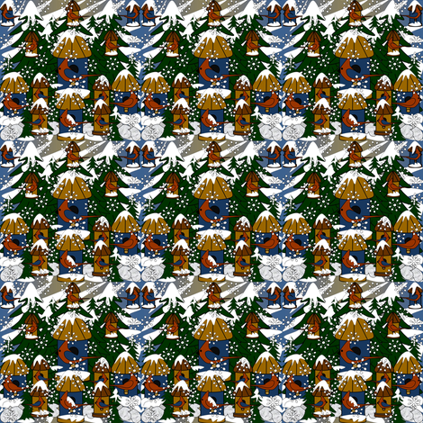 Doug and Petronella Victorian Snowman Winter Trees, Snowflakes, Birds & Birdhouses Fabric #2 fabric by lworiginals on Spoonflower - custom fabric