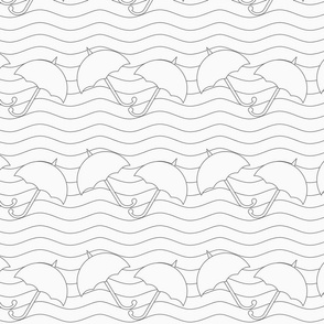 Gray umbrellas in wavy continues lines