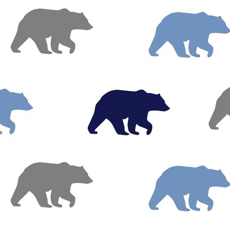 bear walk // grey, navy & denim fabric by buckwoodsdesignco on Spoonflower - custom fabric