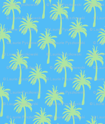 Green Palm Trees on Tropical Blue