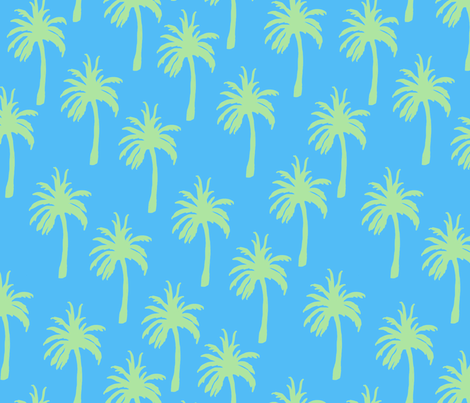 Green Palm Trees on Tropical Blue fabric by lauriekentdesigns on Spoonflower - custom fabric