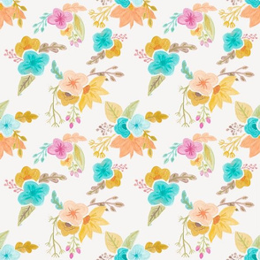Watercolor Retro Floral