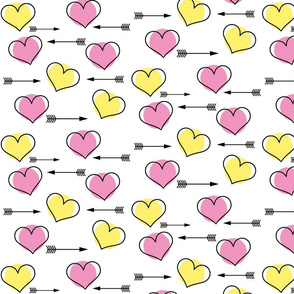 Pink and Yellow Hearts N' Arrows