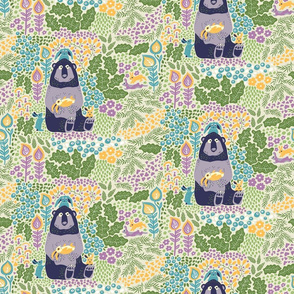 Bear and Bunnies purple