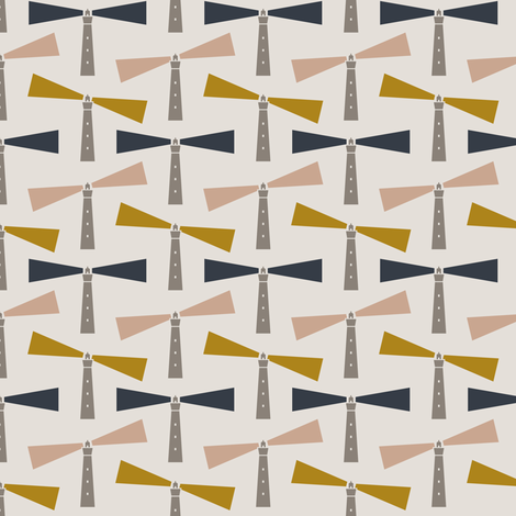 Lighthouse - cream fabric by lemonni on Spoonflower - custom fabric