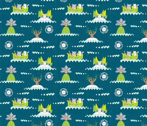 The Owl and the Pussy Cat - Deep Teal fabric by pinky_wittingslow on Spoonflower - custom fabric