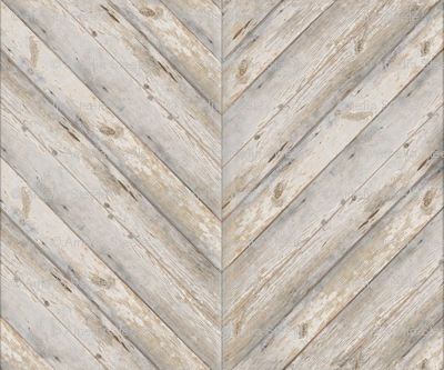 Whitewashed Herringbone Planks