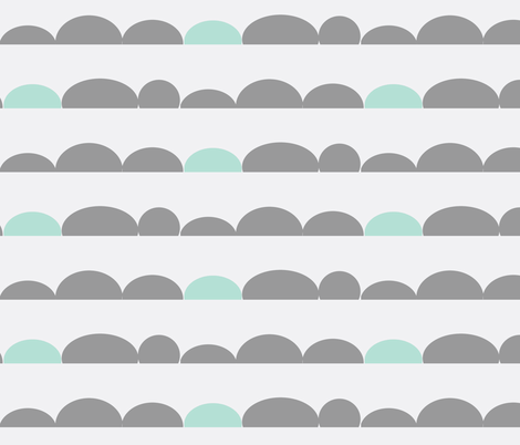 scallops // minty grey fabric by buckwoodsdesignco on Spoonflower - custom fabric
