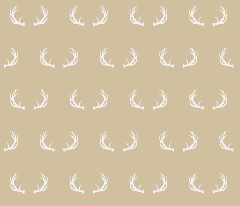 antlers // taupe fabric by buckwoodsdesignco on Spoonflower - custom fabric
