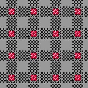 Checker Flowers Black Grey Red White