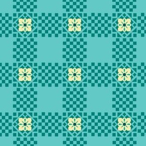 Checker Flowers Teal Yellow