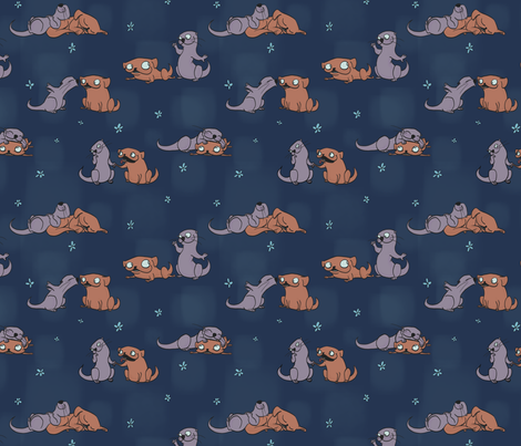 I Otterly Love You fabric by carabaradesigns on Spoonflower - custom fabric
