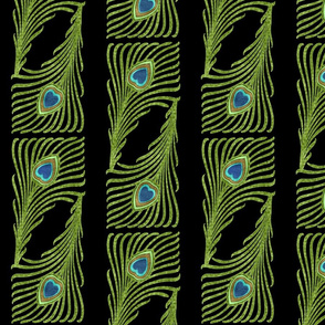 Peacock Stripes Metallic Green Blue Gold