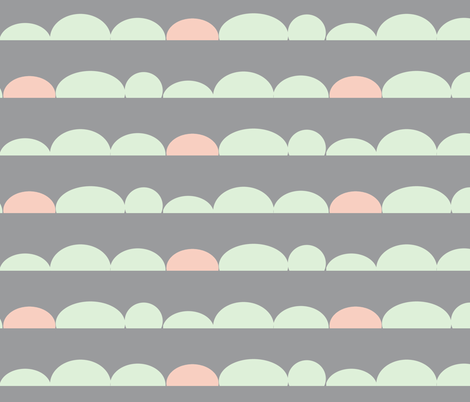 scallops // cucumber & peach on grey fabric by buckwoodsdesignco on Spoonflower - custom fabric