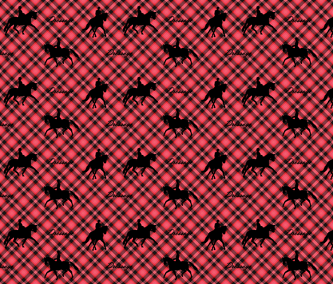 Dressage silhouettes red and black plaid  fabric by cadence&co on Spoonflower - custom fabric