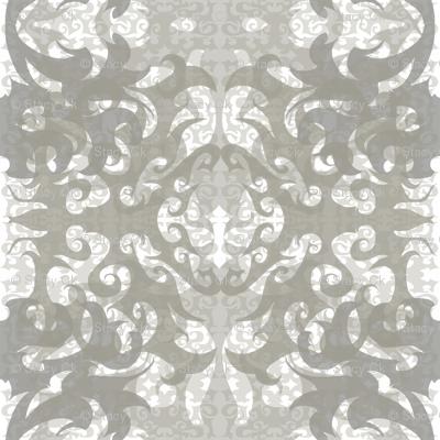 StacyCK Studio - Grey & White Scrollwork - Design repeat