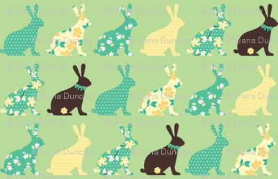 chocolate bunnies in mint