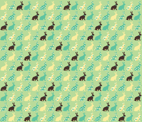 chocolate bunnies in mint fabric by pinkowlet on Spoonflower - custom fabric