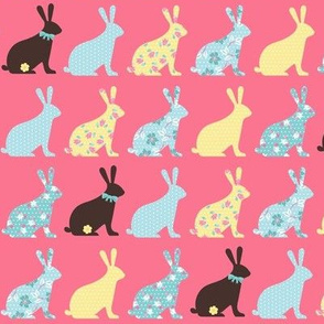 chocolate bunnies in pink