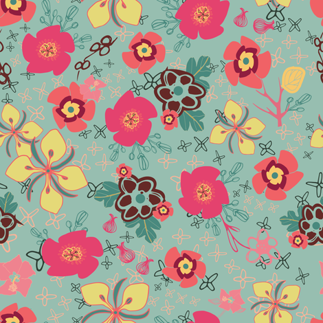 Ditsy Flowers, green fabric by michellegracedesign on Spoonflower - custom fabric