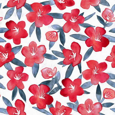 Bold Spring Flowers in Red, White and Grey fabric by micklyn on Spoonflower - custom fabric