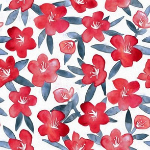 Bold Spring Flowers in Red, White and Grey