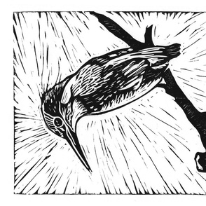Kingfisher linocut tea towel
