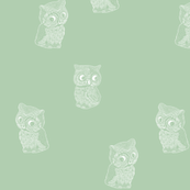 Folk Art Owls on Soft Green