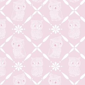 Folk Art Owls on Soft Rose Pink