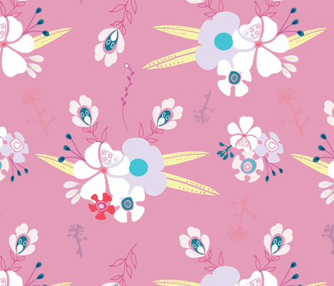 Corsage, pink fabric by michellegracedesign on Spoonflower - custom fabric