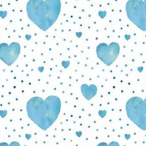 Blue aquarel dots and hearts