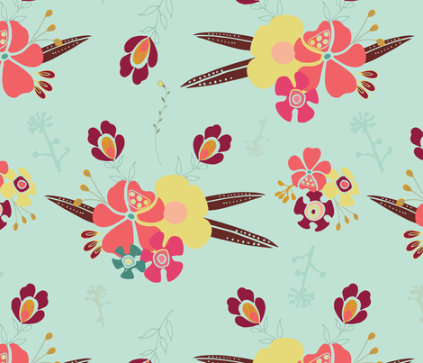 Corsage, blue fabric by michellegracedesign on Spoonflower - custom fabric