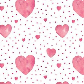 Pink aquarel dots and hearts