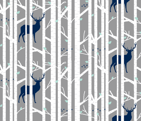 walk in the woods // indigo & grey fabric by buckwoodsdesignco on Spoonflower - custom fabric
