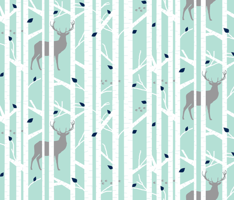 walk in the woods // mint & grey fabric by buckwoodsdesignco on Spoonflower - custom fabric