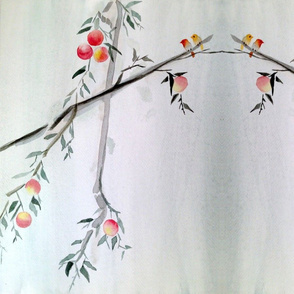 Birds on a Peach Branch