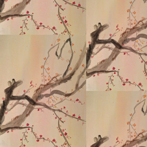 Owls on a Plum Blossom Branch