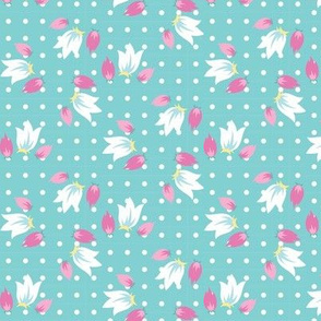 tiny flowers for bunnies in teal