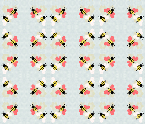 Bees, Honeycomb Hearts, Clouds fabric by mopeysealion on Spoonflower - custom fabric