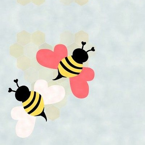 Bees, Honeycomb Hearts, Clouds