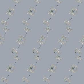 lilac gray vine dragonfly print