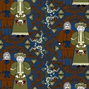 Grandpa Lewis and Grandma Aurora May Victorian Flowers Fabric #1