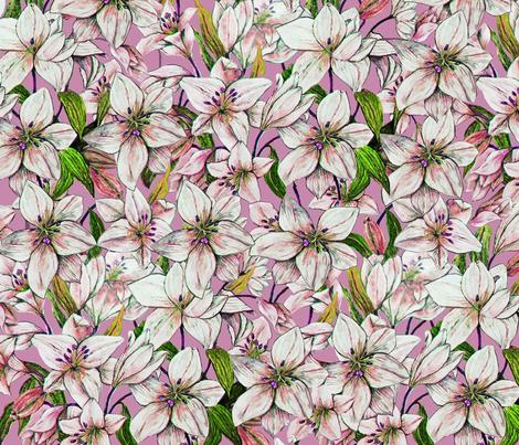 Lilies Amethyst fabric by designsld on Spoonflower - custom fabric