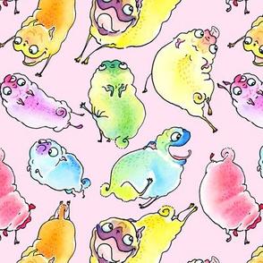 "2.5"" Rainbow Pugs - Bubblegum"