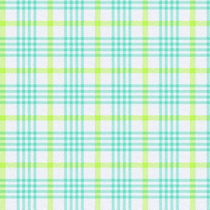 Blue, Green and White Plaid